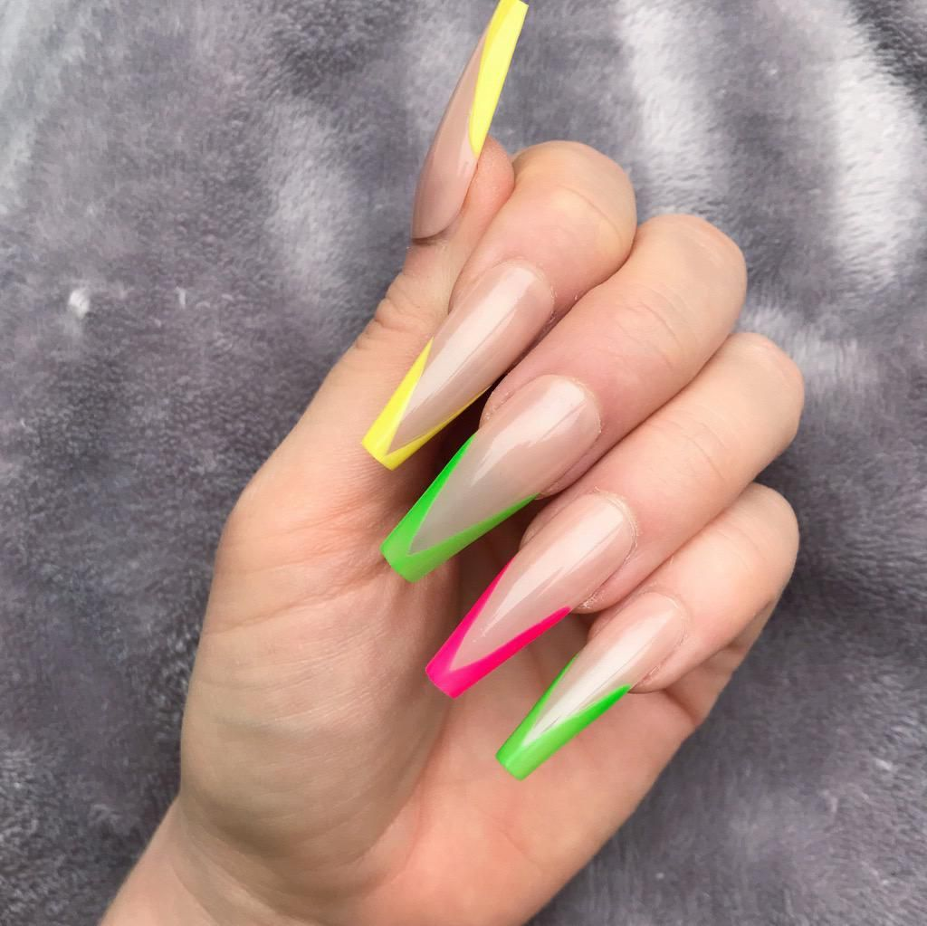 New Neon Mani Extra Coffin Doobys Nails Mani Neon Nails Coffin Nails Long