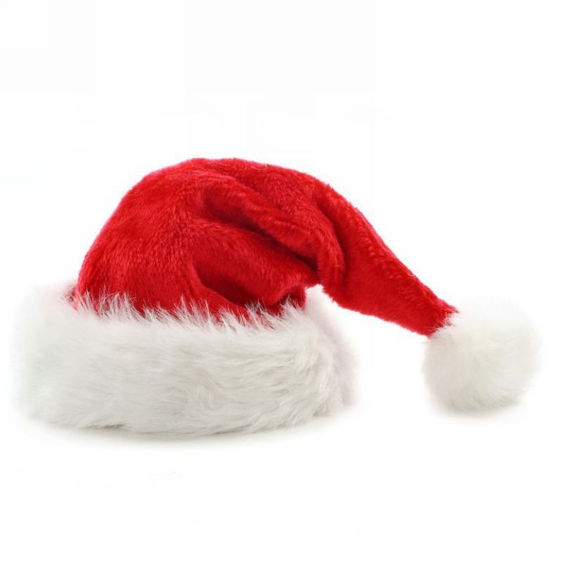 Red White Faux Fur Deluxe Plush Santa Christmas Claus Hat With Pom