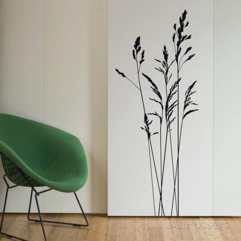 Herbes Sauvages Hautes Medium Noir Autocollant Mural Sur