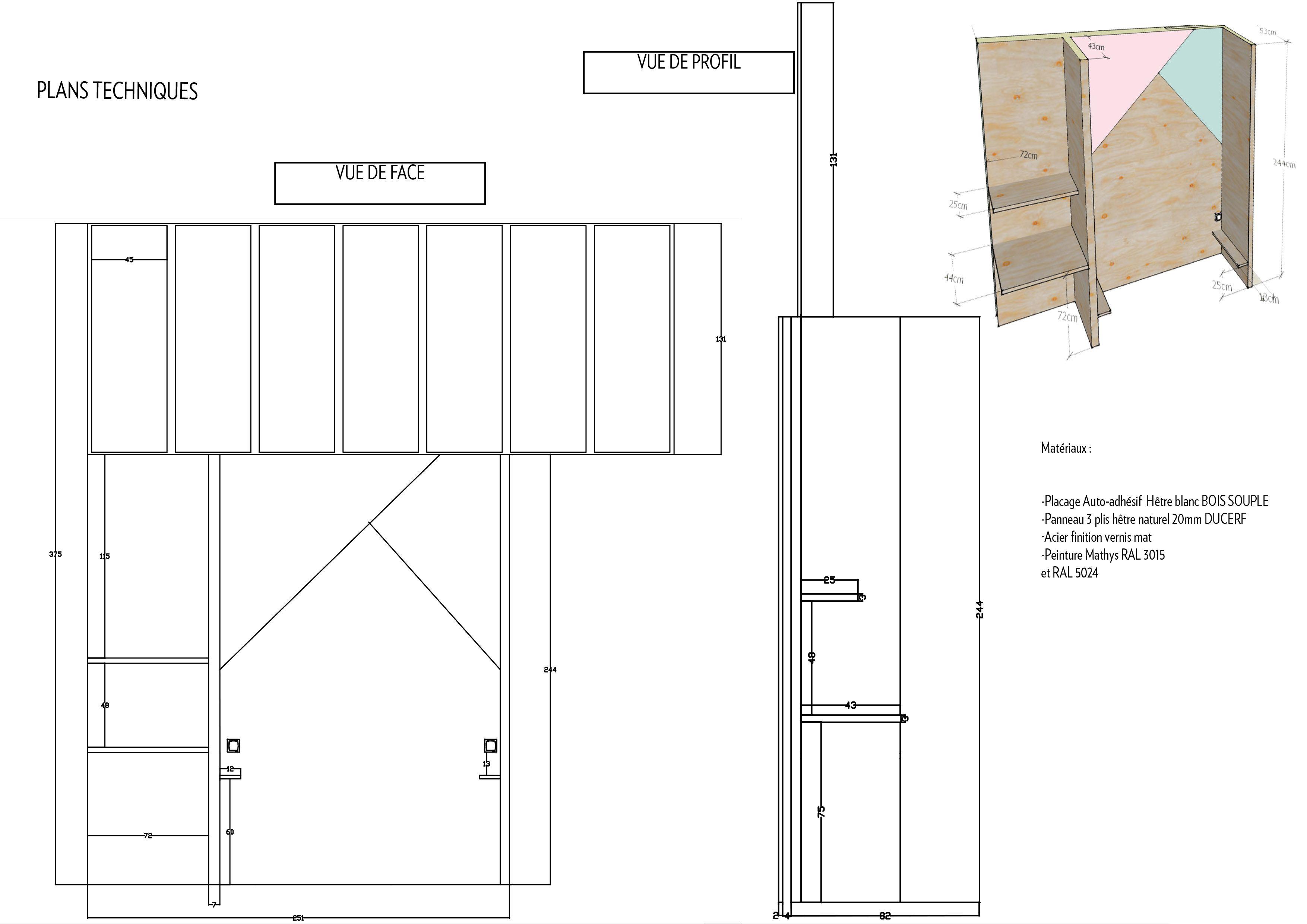 Salle De Bain Dans Chambre Plan ~ plan technique cloison avec verri re chambre salle de bain coiffeuse