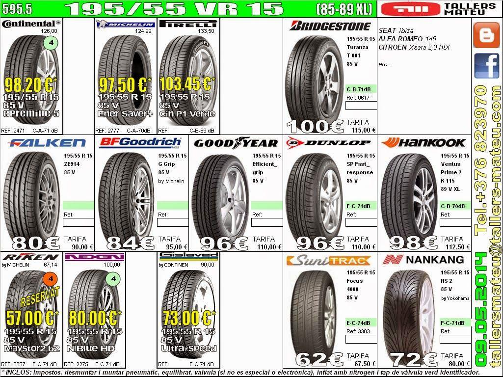 Tallers Mateu 195 55 Vr 15 85 89xl Mercedes Clk Vw Polo Honda Jazz