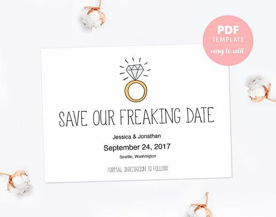 Save the date PDF template card Funny engagement card Editable PDF