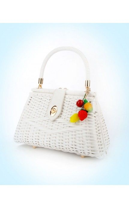 Wicker Purse in White with Fruit Charm | Pinup Girl Clothing