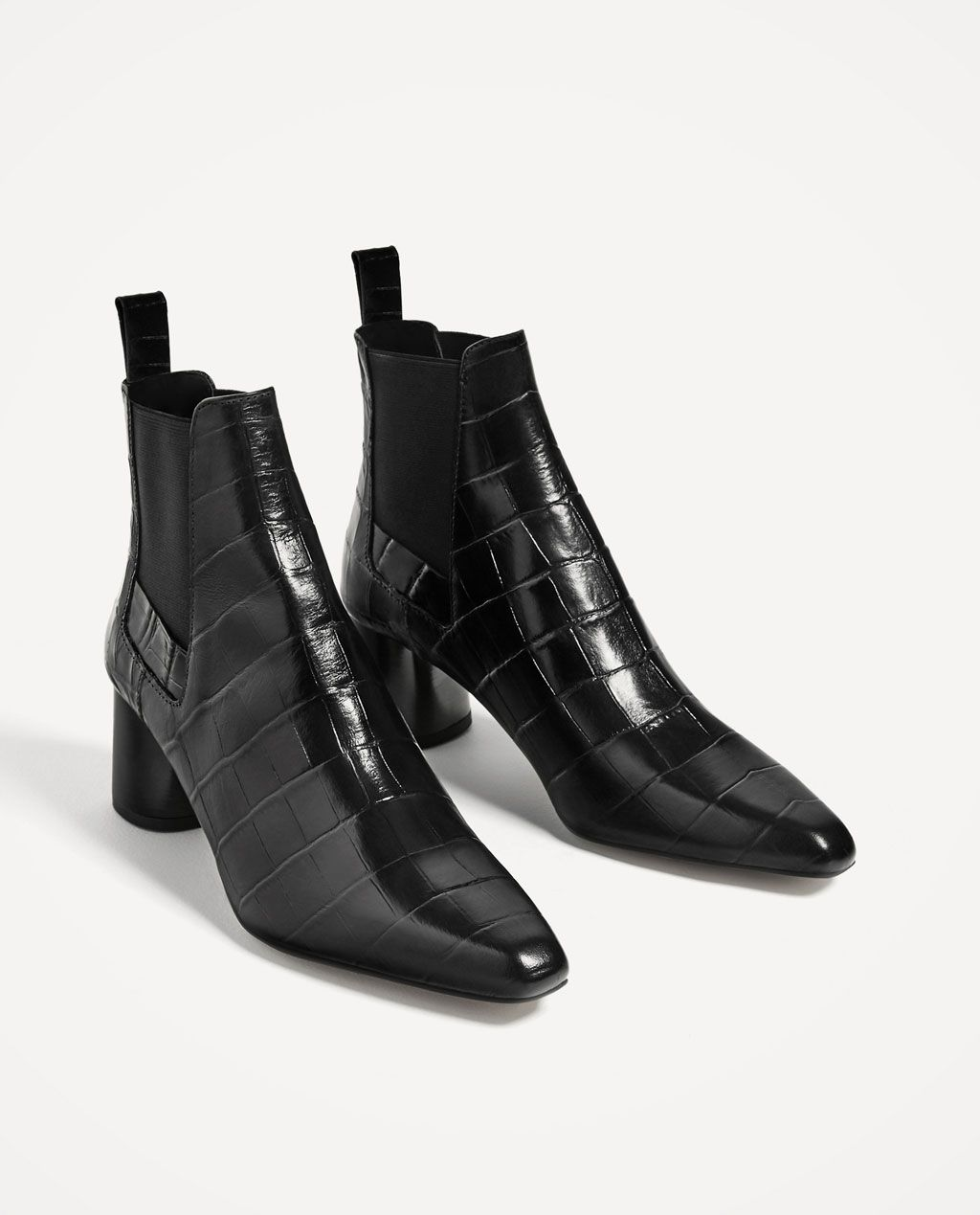 EMBOSSED LEATHER HIGH HEEL ANKLE BOOTS-Boots and ankle boots-SHOES-WOMAN    ZARA United States f321f6a400