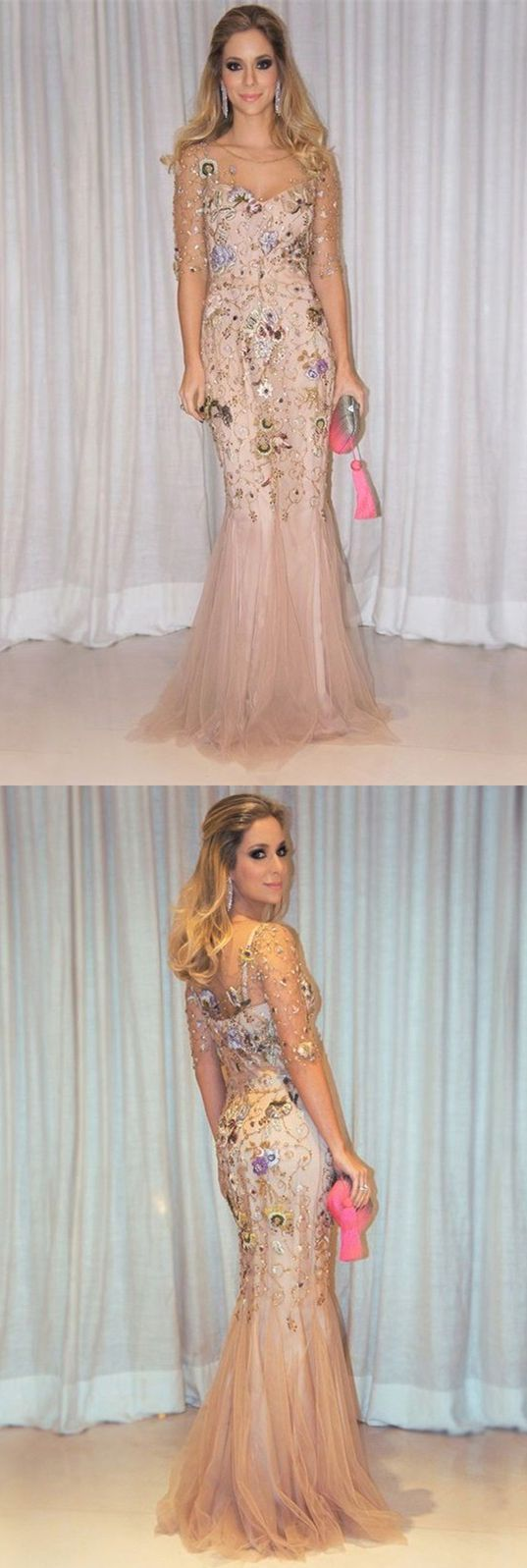 Mermaid prom dressesround neck prom dresseslight champagne prom