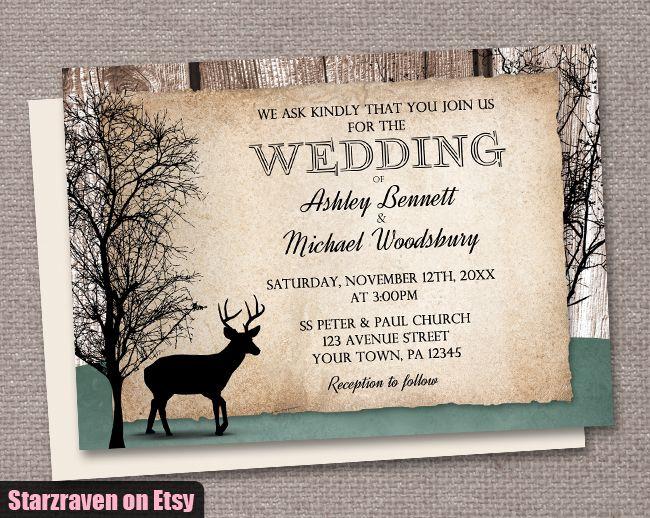 rustic woodsy deer wedding invitations - Deer Wedding Invitations