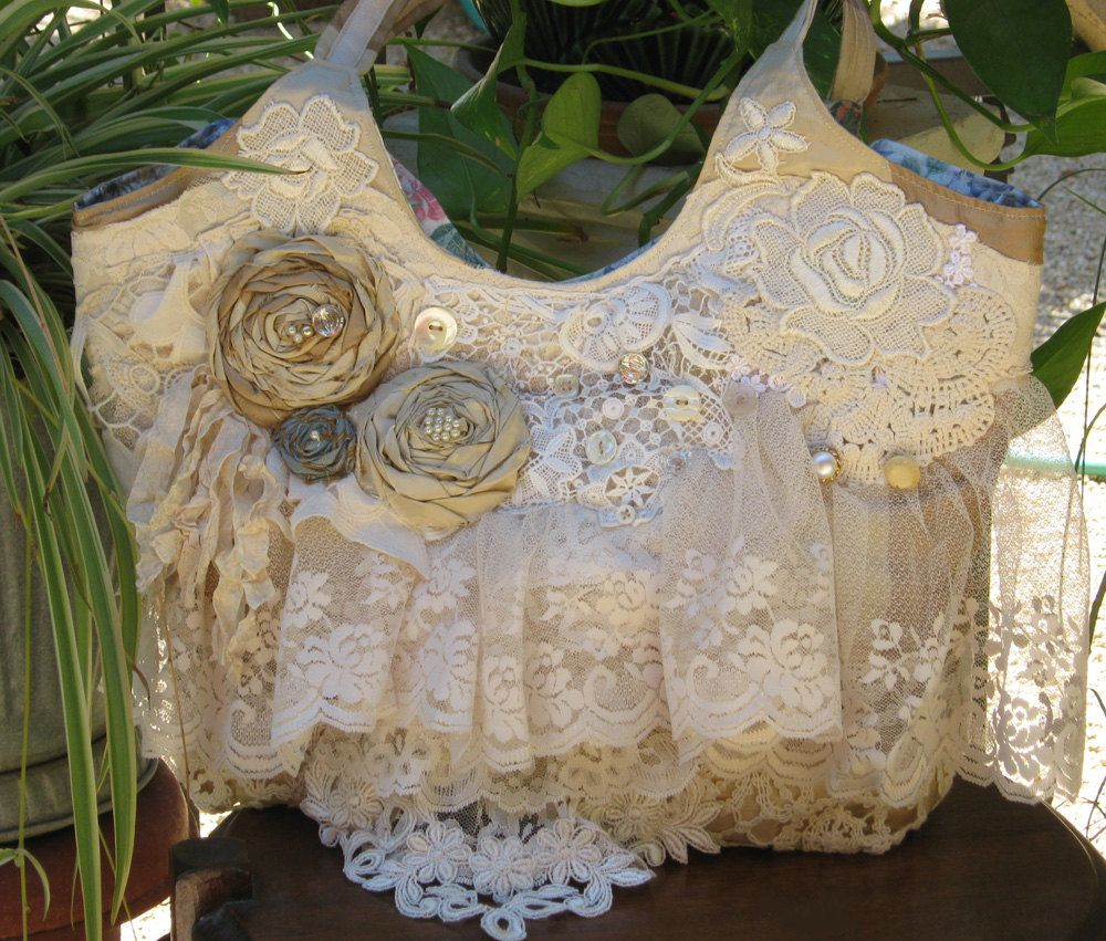 Handbag Purse Bag Vintage Lace Roses Buttons Shabby Chic Ruffles. $80.00, via Etsy.