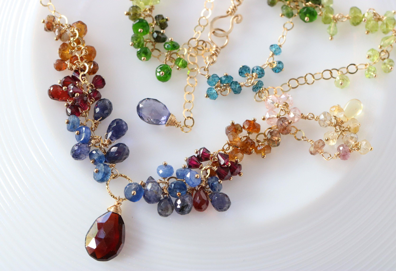 Multi Gem Boho Chic Sterling Silver Wire Wrapped Apatite Chalcedony Garnet Iolite Cluster Dangle Earrings Handmade Gemstone Bead Jewelry