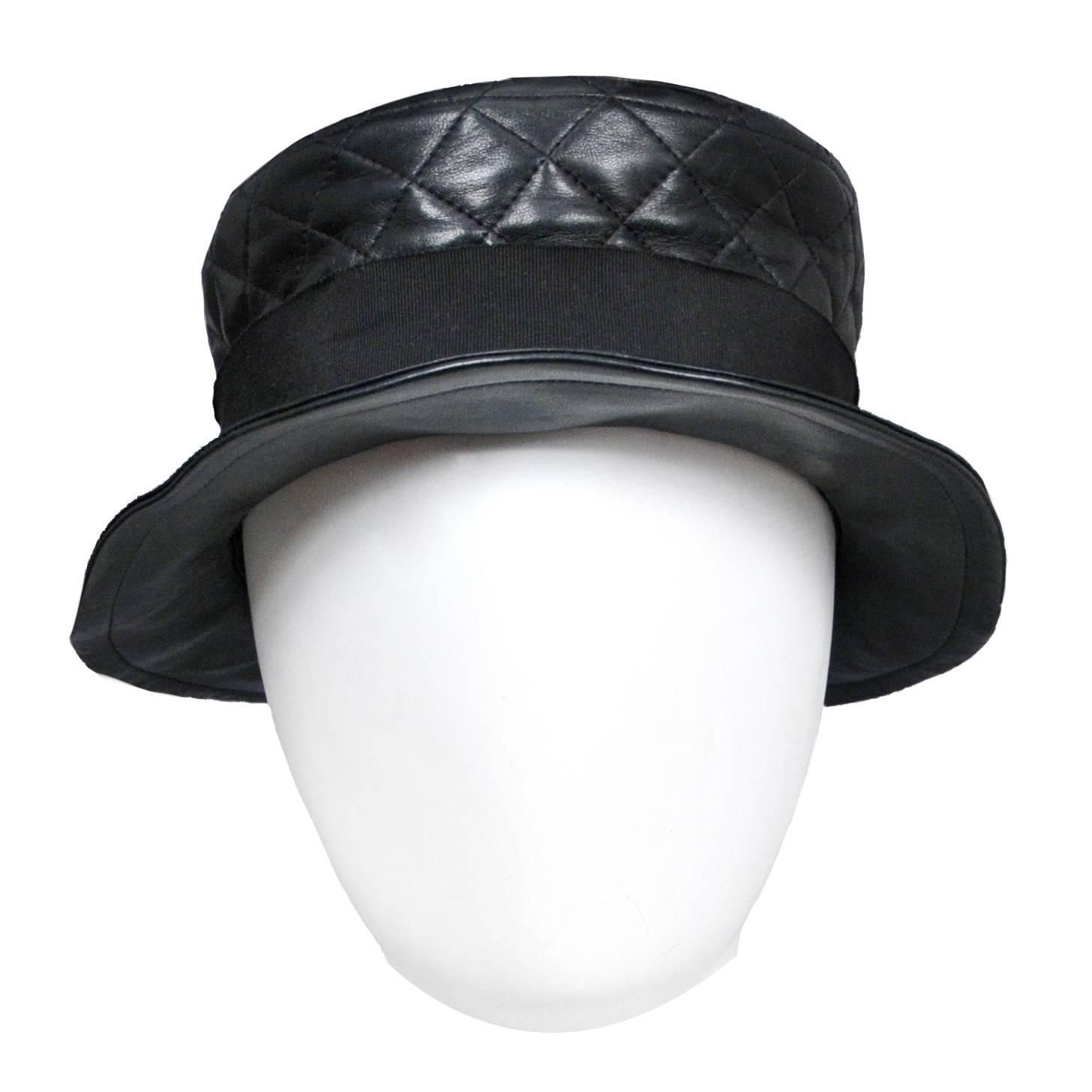 Chanel Leather Quilted Hat 1stdibs Com Hats Leather Hats Vintage