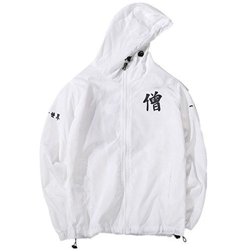 0059c1d739b2 Allonly Men s Fashion Hoodie Zip-up Chinese Letter Windbreaker JacketSIZE  NOTICE 1.When you buy this
