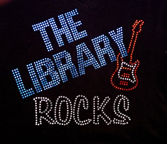 c2c657363300 Rhinestone Bling The Library Rocks TShirt teacher by BlingNInk ...