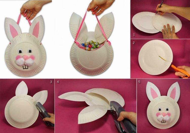 Osterkörbchen Basteln Kindern Pappteller Idee Osterhase