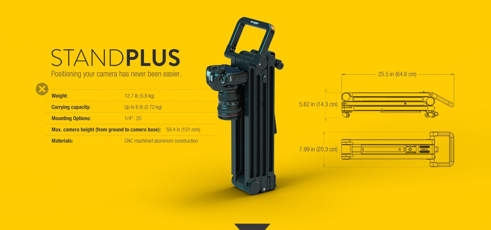 The fastest and most flexible on ground camera positioning solution for solo videographers.