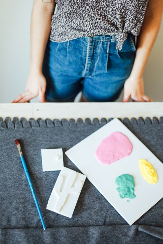 Beach Blanket DIY   #MadeByHand  Step 3   Use a paint brush to apply the fabric paint to the back of the stamp - and stamp away!