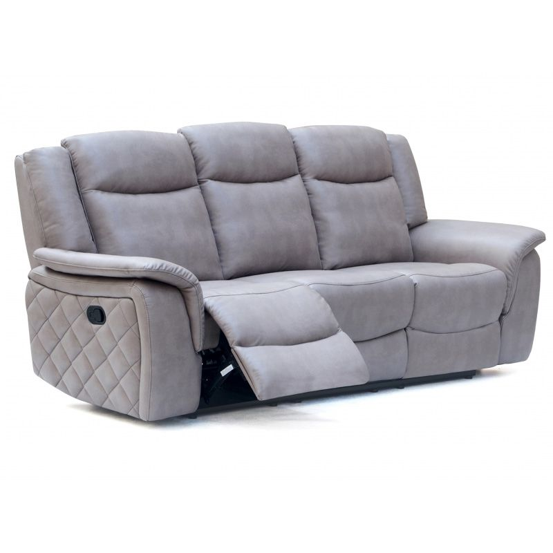 Carly Grey Leatherette Dual Reclining Sofa W/ Quilted Sides #dynamichome # Sofa #gray