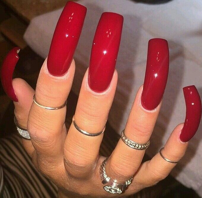 Belleza Long Square Acrylic Nails Curved Nails Long Red Nails