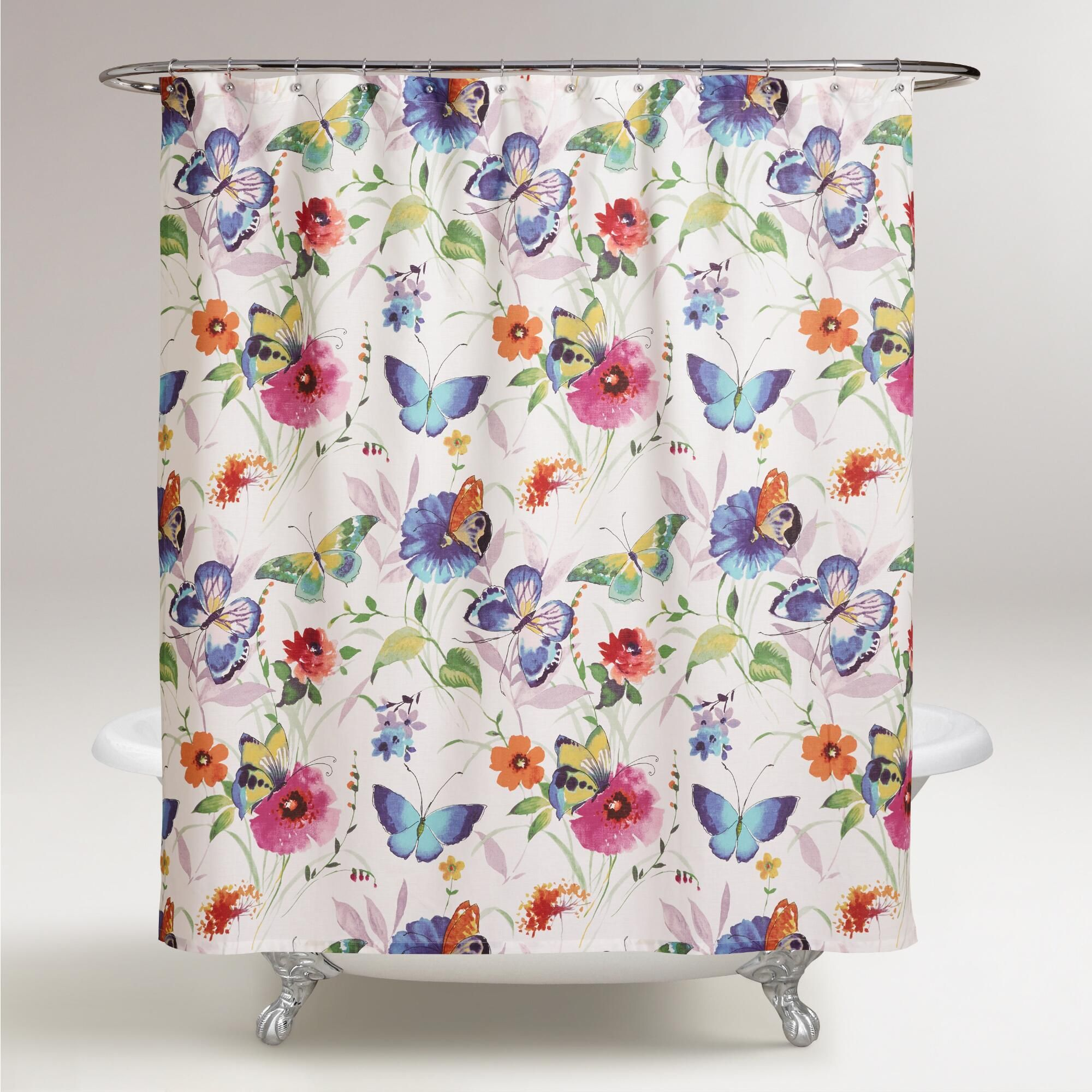 Colorful shower curtains - Butterfly Watercolor Floral Shower Curtain