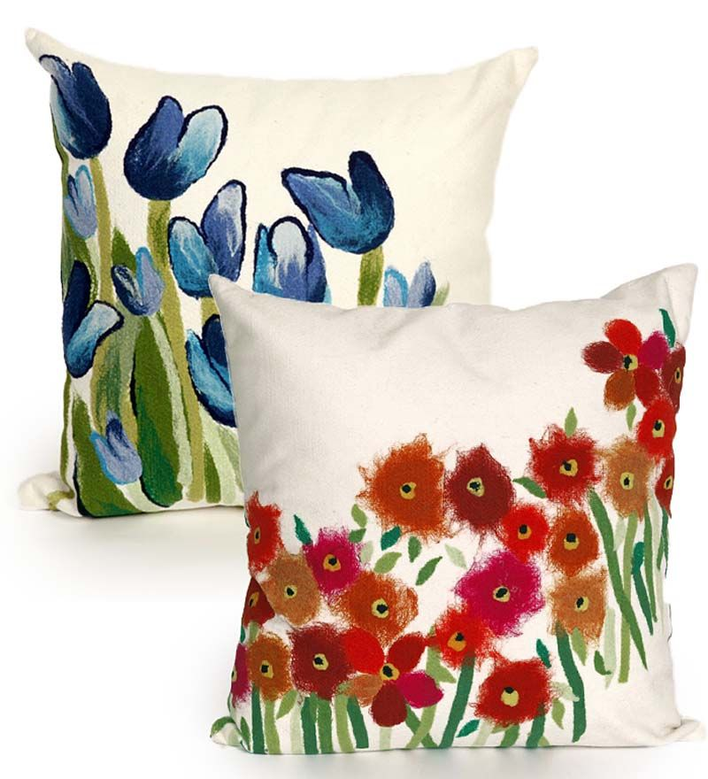 Flowers Indoor/Outdoor Throw Pillow | Outdoor Cushions and Pillows ...