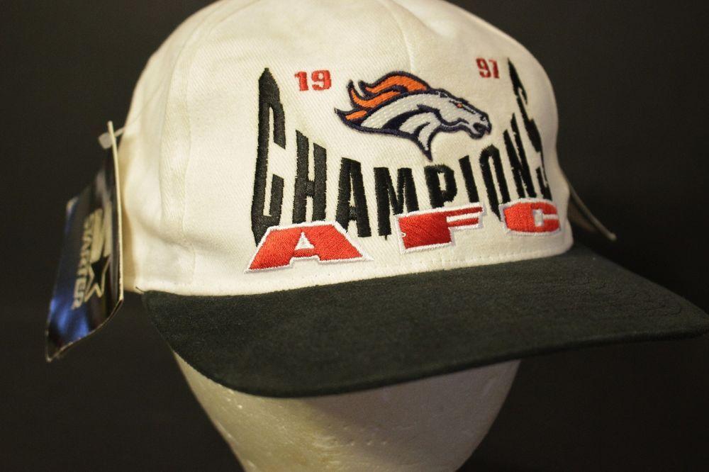 ff7e81c4347 Vintage Denver Broncos Snapback Hat Cap AFC Champions Starter 1997 NWT NOS   Starter  BaseballCap
