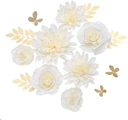 AmazonSmile: Ling's moment Paper Flower Decorations(14''-6''Assorted), Handcrafted 3D Large Crepe Paper Rose Dahlia Peony Set of 7 for Nursery Party Wedding Baby Shower Birthday Centerpiece(Cream Ombre): Home & Kitchen #crepepaperroses