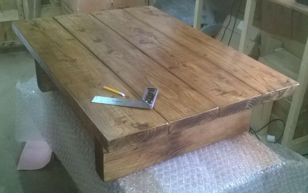 Large coffee table 110 x 78cm solid wood handmade chunky