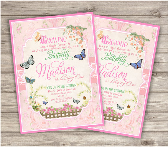 30 Printed Butterfly Garden Birthday Invitations First Theme Rustic Woodland Bbq Park Picni