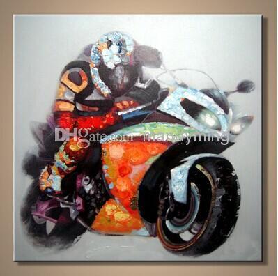 Handgemalte hochwertige Motorrad-Malerei auf Segeltuch Autobicycle - kunst fürs wohnzimmer