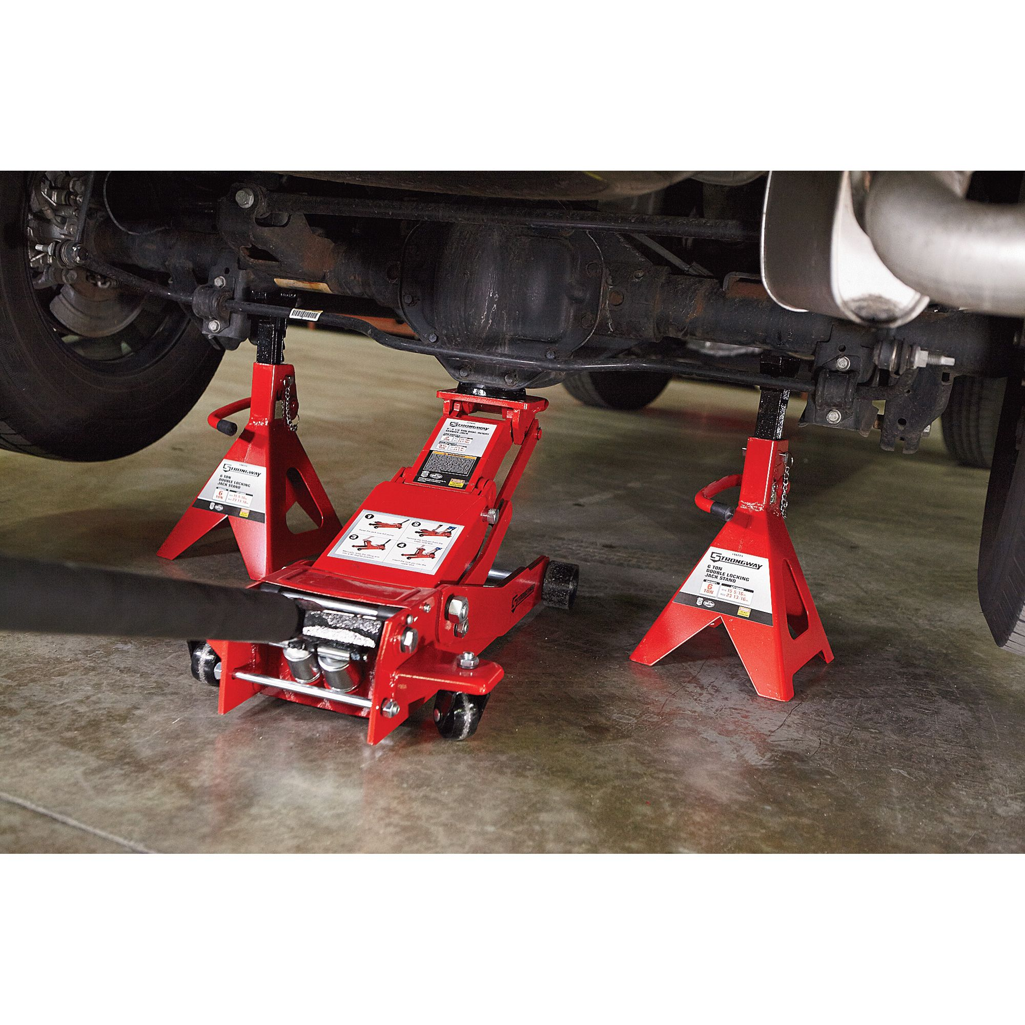 These 6 Ton Strongway Jack Stands Feature Double Locking Capability The Patented Safety Pin Design Adds Extra Security W Jack Stands Auto Service Garage Cafe