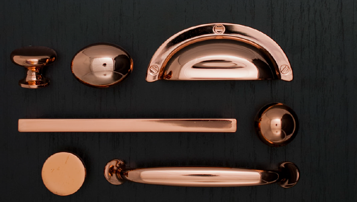 New Cabinet And Furniture Hardware With A Polished Copper Coating