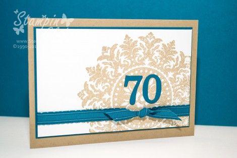 Großartig Stampin Up, Karte, Geburtstag, Birthday, Einladung, 70, Medallion, Petrol,  Junior ABC