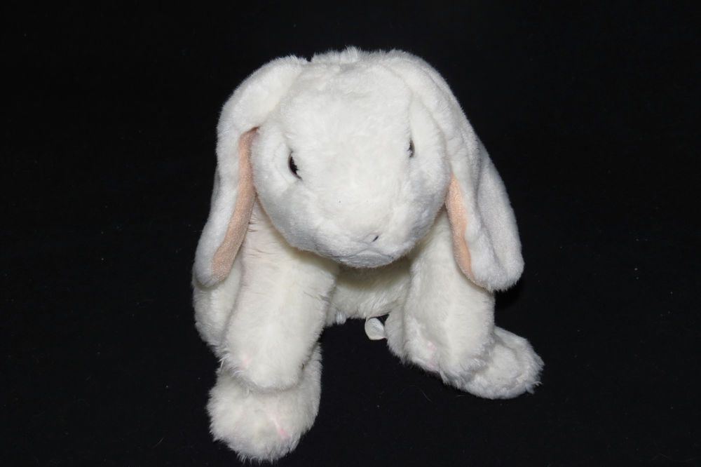 "Animal Alley Bunny Rabbit Pure White Life Like Heavy Soft Bean Bag Plush Toy 13"" #AnimalAlley"