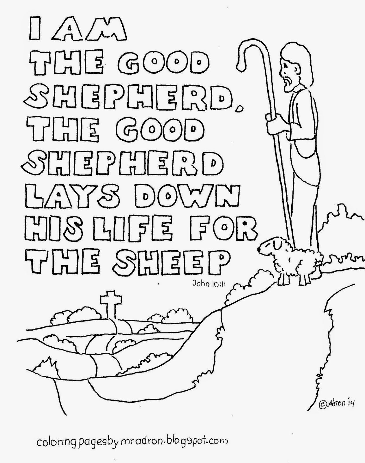 Free bible story coloring pages for kids - Coloring Pages For Kids By Mr Adron I Am The Good Shepherd Free Bible Verse Coloring