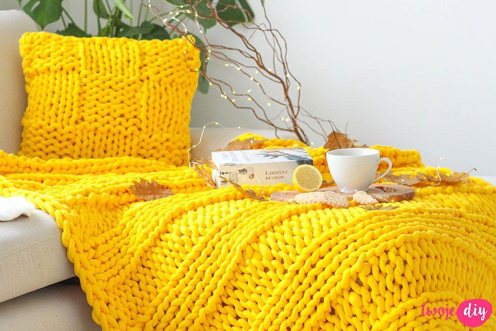 Jak Zrobic Koc Pleciony Na Rekach Twoje Diy Yarn Inspiration Home Diy Hand Crochet