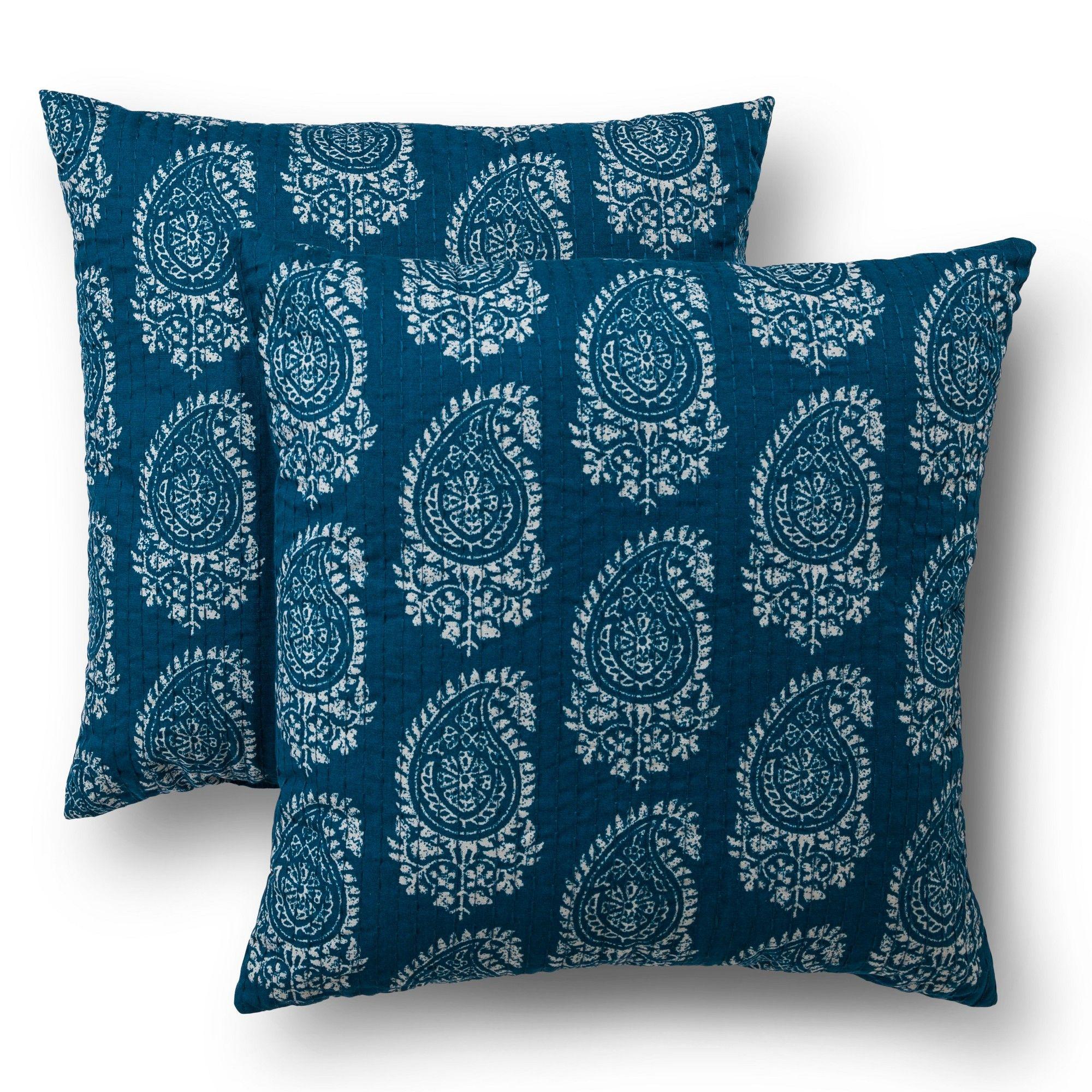 Threshold Blue Paisley Throw Pillow Set 2 Pack (18 X18 )