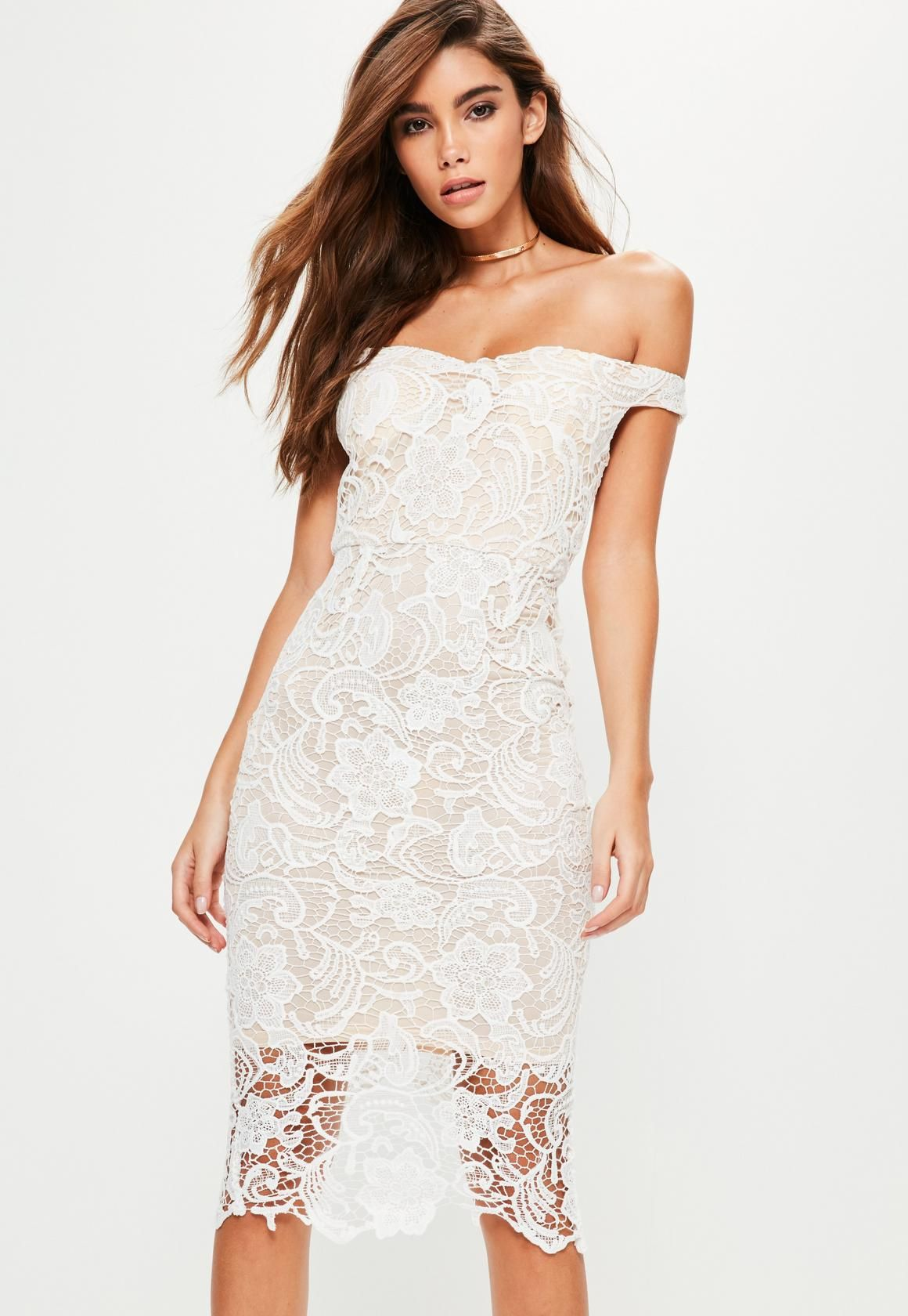 543d2ca0448b Missguided - White Lace Bardot Midi Dress | Stephanie | Bardot midi ...
