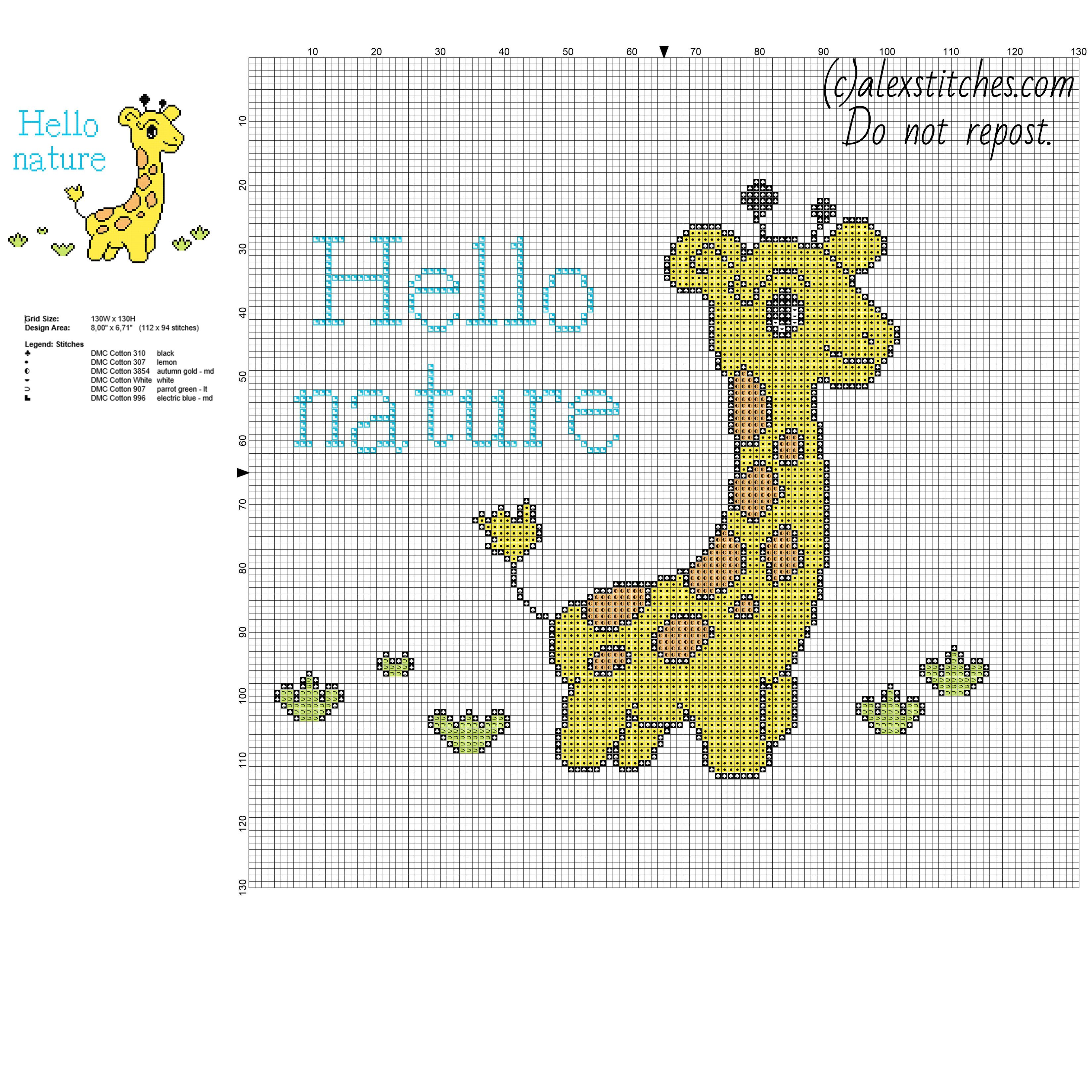 colored baby giraffe animal for baby free cross stitch