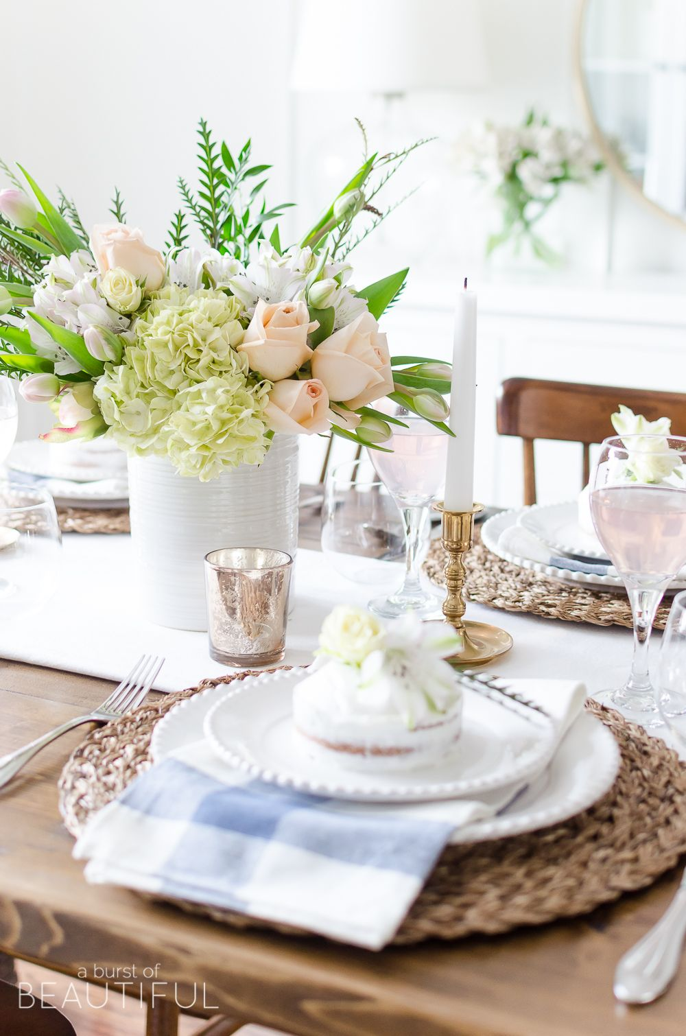 Roses Tulips And Hydrangeas Create The Perfect Centerpiece For This Simple Pink Gold Spring