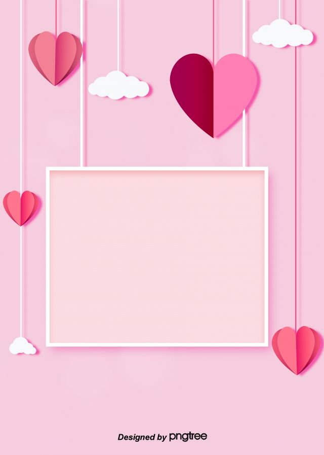 Simple Sweet Pink Love Clouds Framed To Decorate The Background Of Valentines Day