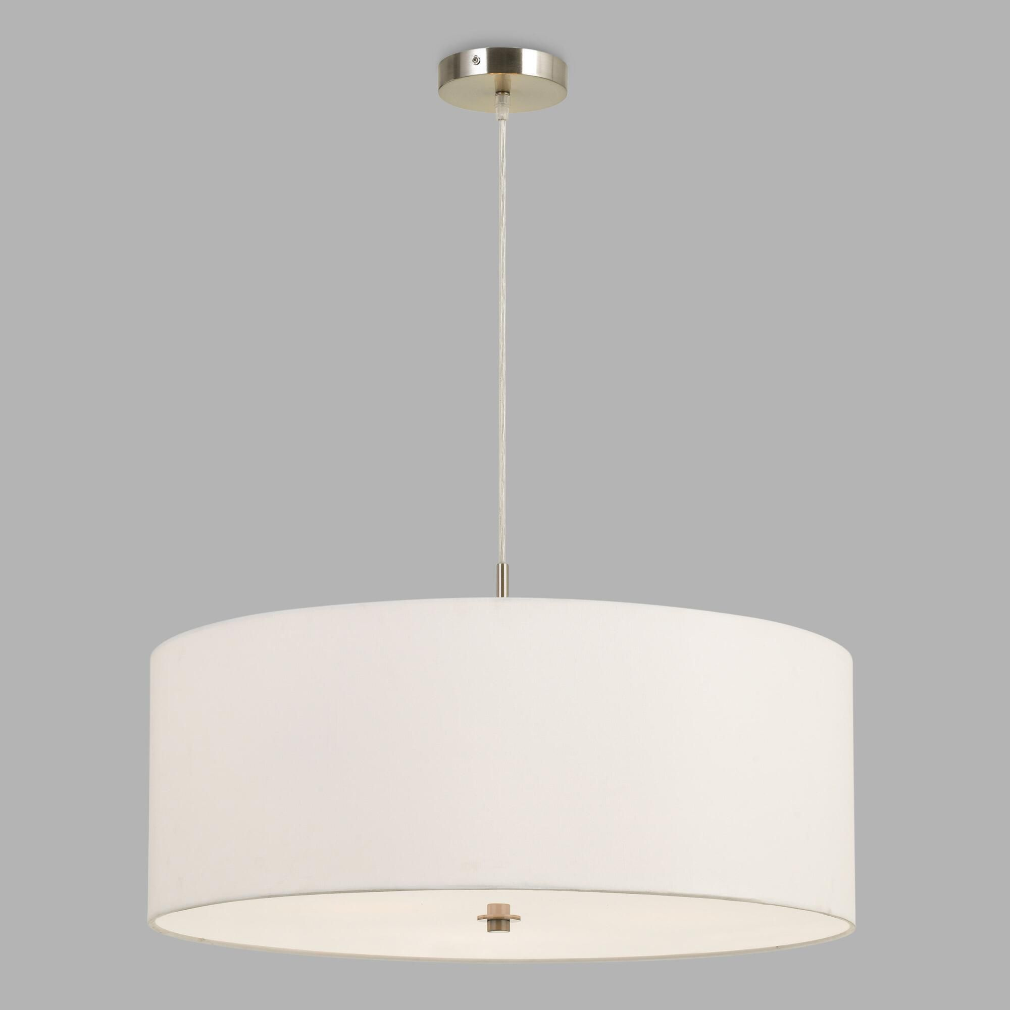 Large White Fabric Drum 3 Light Billie Pendant Lamp Drum Shade
