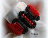 Red/Black Beaded Cuff Bracelet, Statement Bracelet, Seed Bead Bracelet, Art Beadwork Bracelet, CRAW, Unique Gift, Beadwoven Jewelry, OOAK