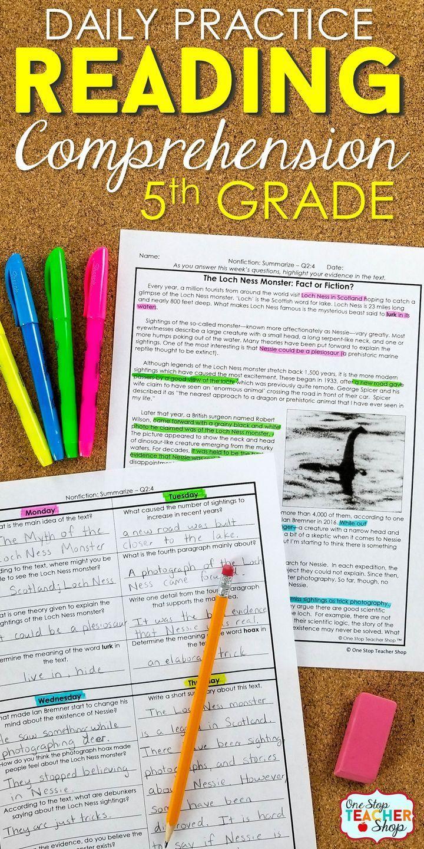 5th Grade Reading Homework | Reading Comprehension ...