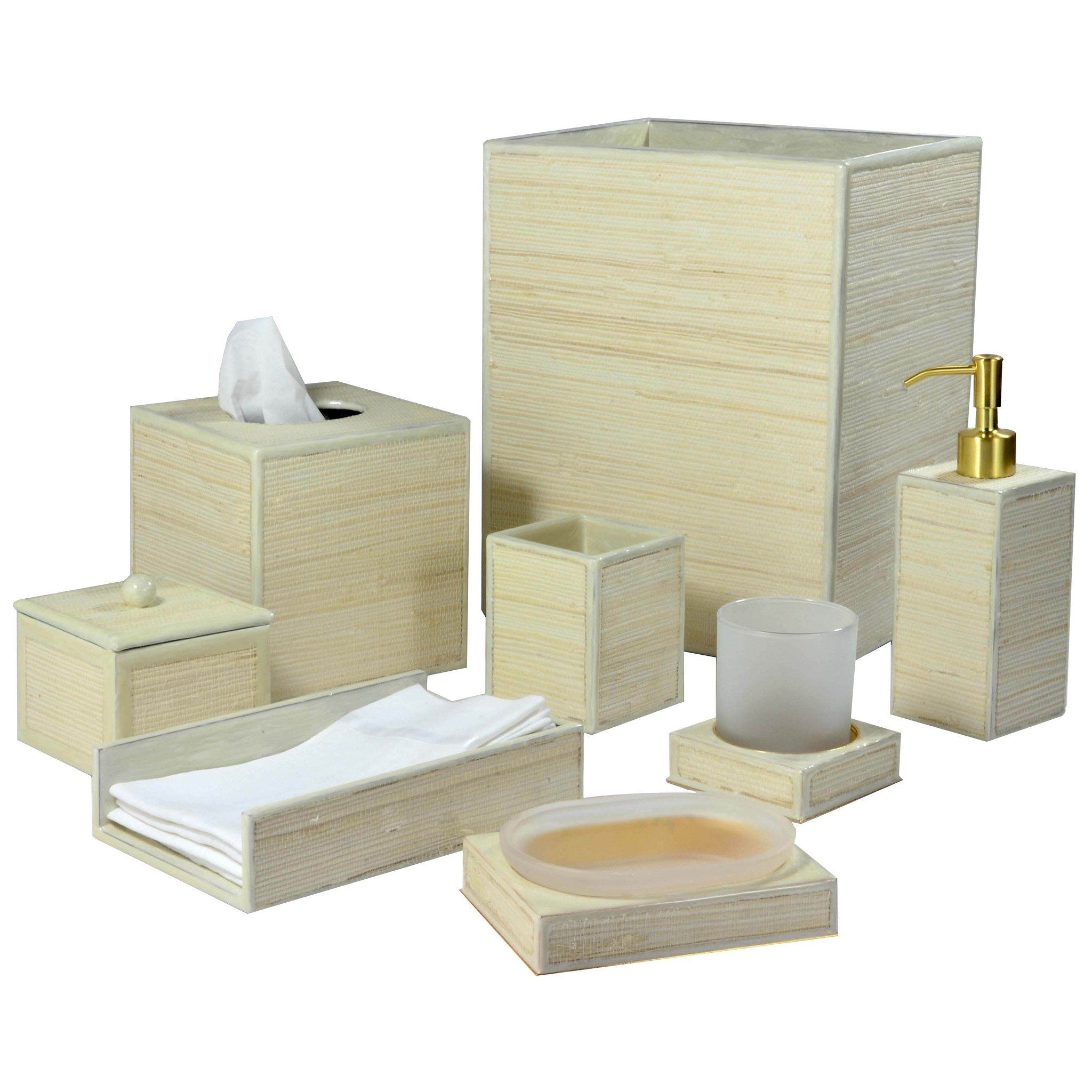 Mike and Ally Montauk Bath Accessories - Sand/Gold Enamel Trim ...