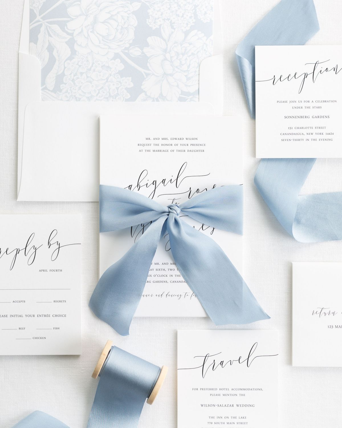 Romantic Calligraphy Ribbon Wedding Invitations | Silk ribbon ...