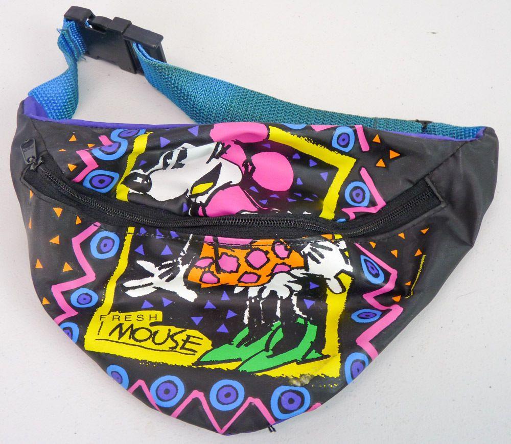 8b38f45da9 Disney Vintage 90s MINNIE MOUSE Neon Graphics Black Vinyl FANNY PACK Waist  Bag…