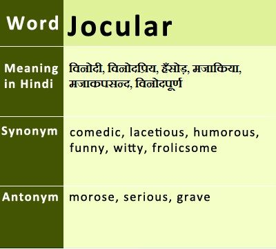 Jocular Synonyms Antonyms Hindi Meaning Uses Onlinegkguide English Vocabulary Words Synonyms And Antonyms Antonyms