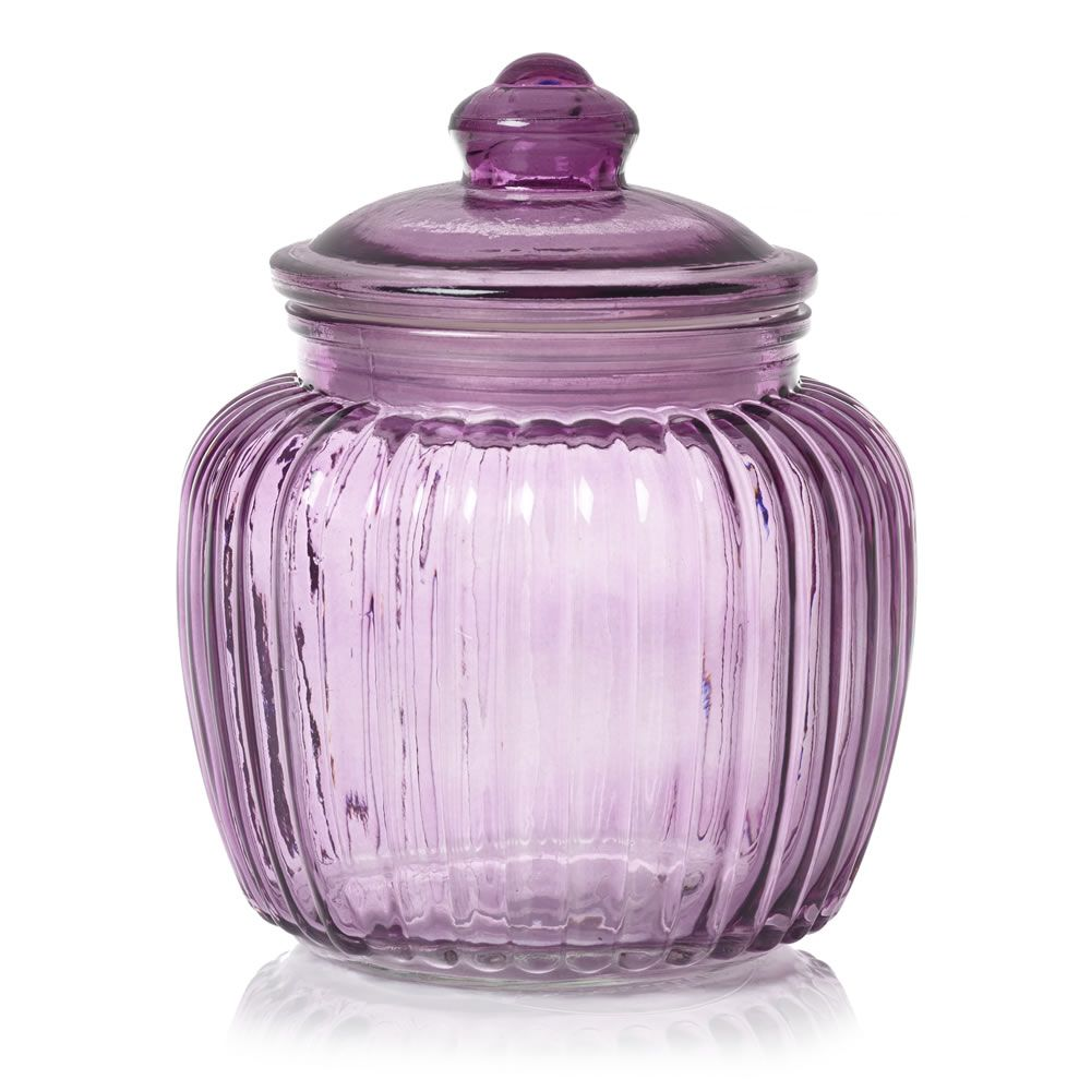 Wilko Glass Bell Jar Ribbed Purple at wilko.com | Glass ...