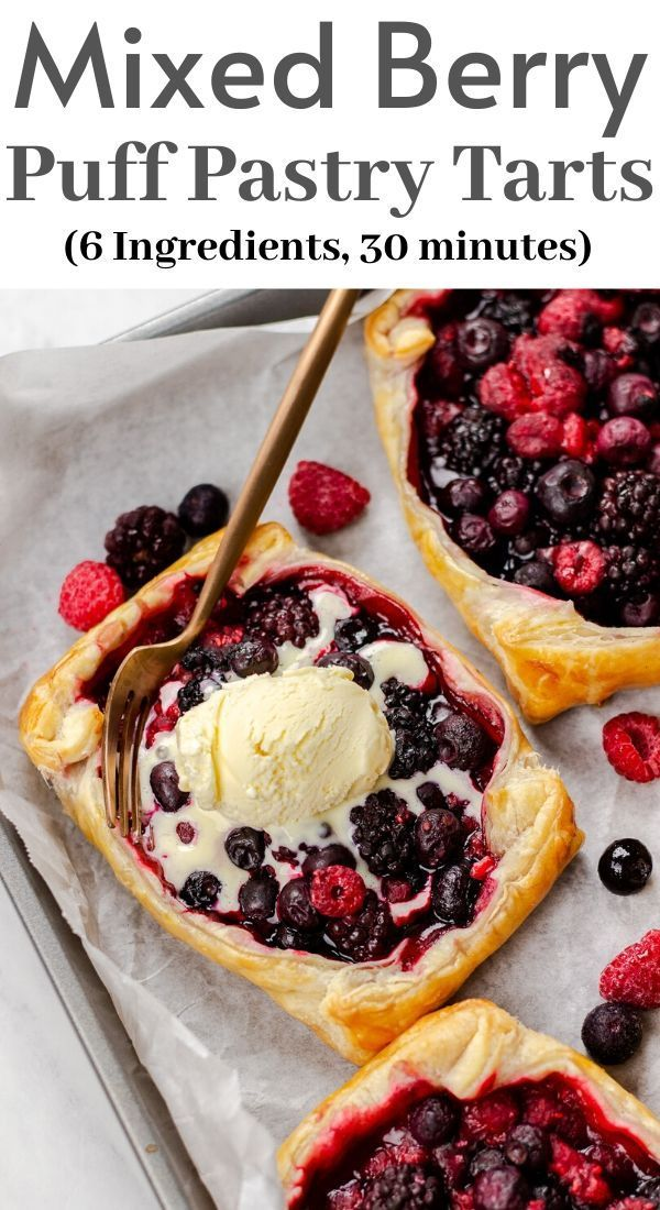 Mixed Berry Puff Pastry Tarts | Veronika's Kitchen
