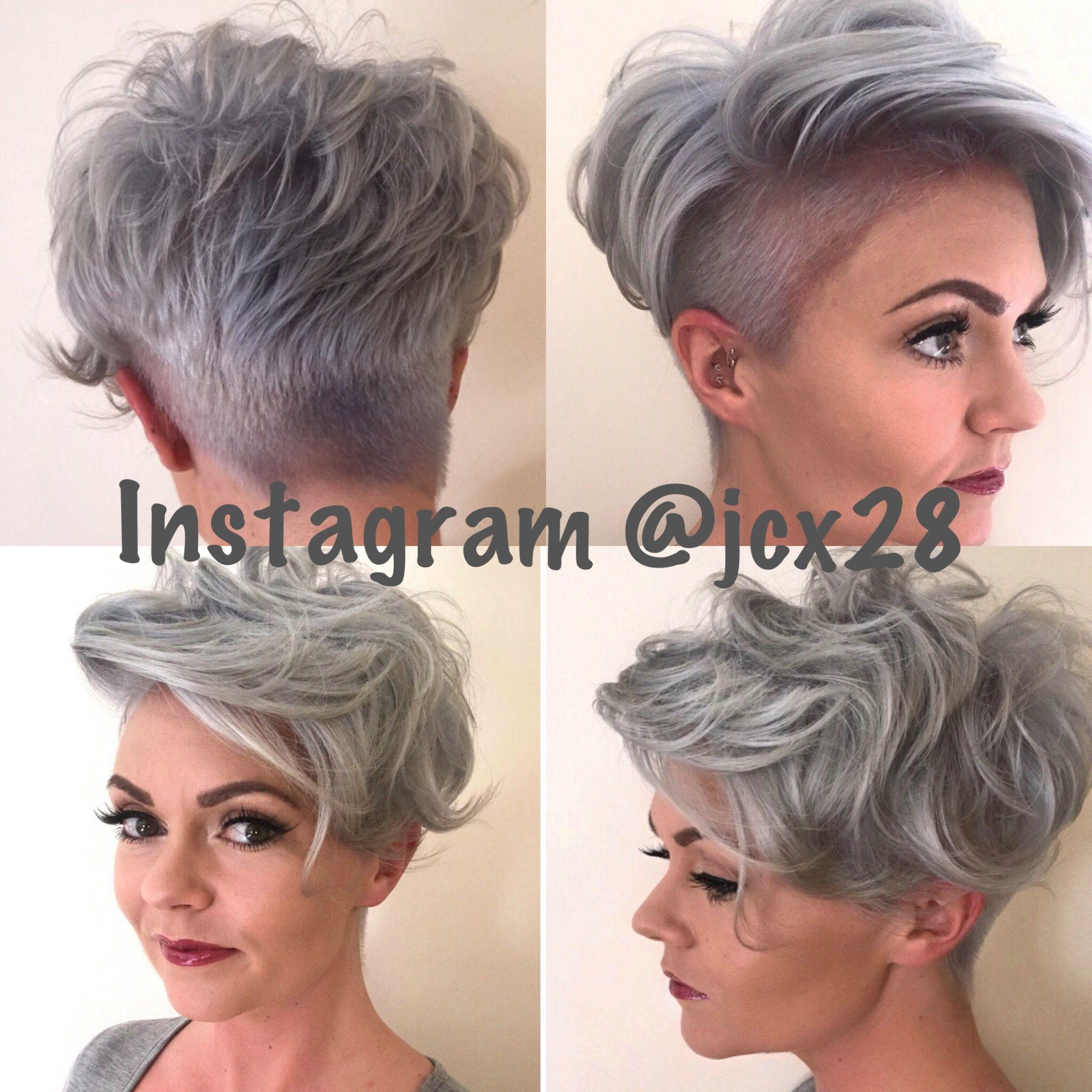 silver pixie cut undercut, shaved sides, grey hair, short