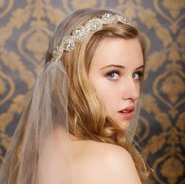 Wholesale Hot Selling Crystal Tiara Headband Tulle Veils New White Ivory Bride Veil Wedding Bridal Accessories