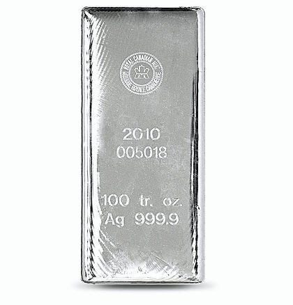 100 Ounce Royal Canadian Mint 9999 Silver Bar Artincoins Silver Bars Silver Bullion Silver